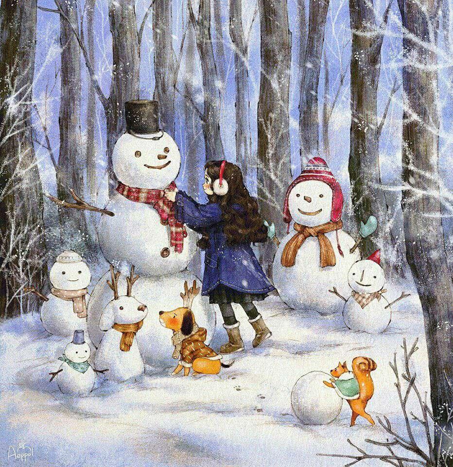 برف بازی و آدم برفی