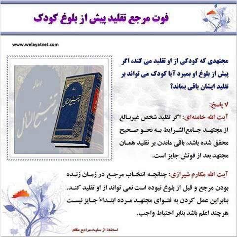 فوت مرجع تقلید پیش از بلوغ کود ک