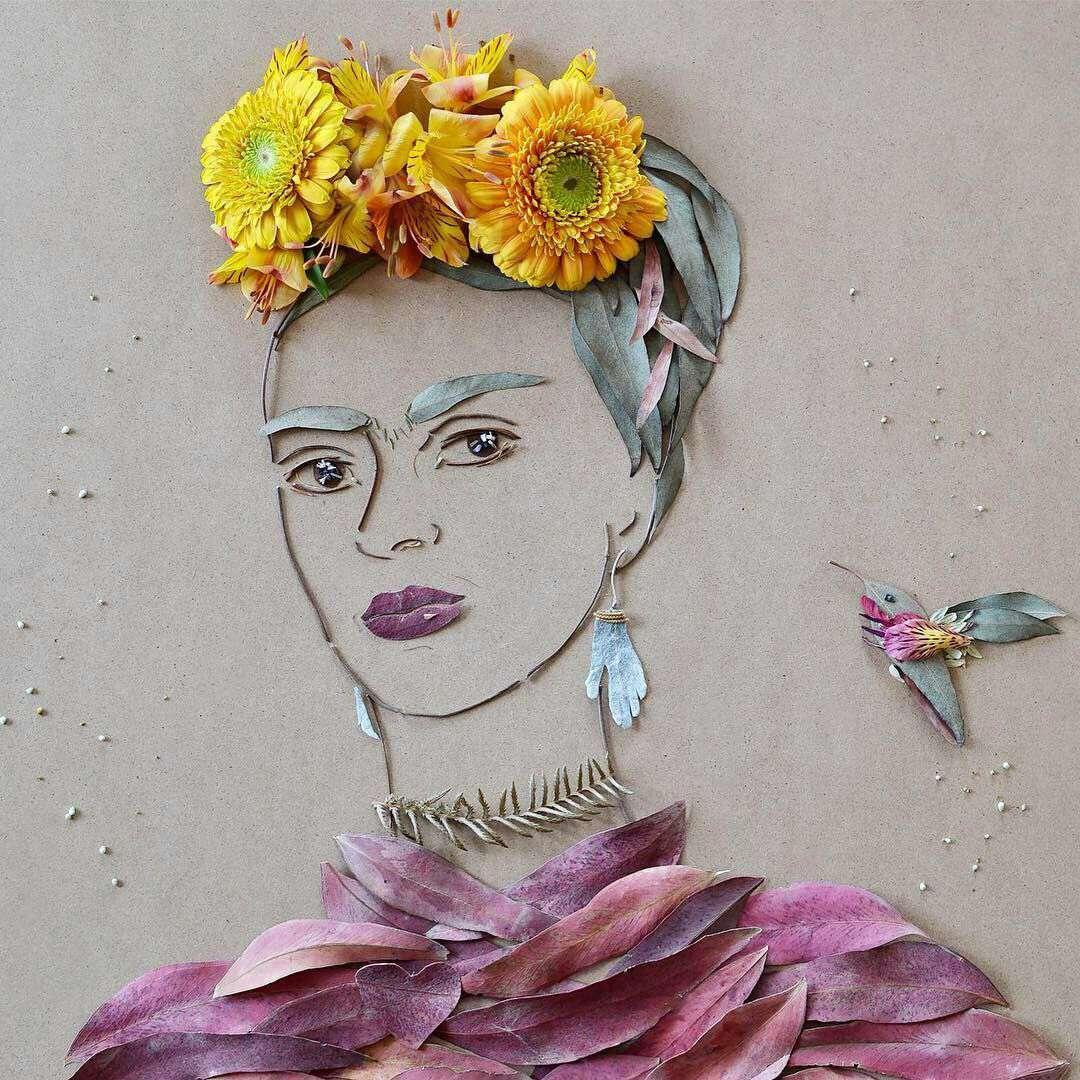 نقاشی با برگ و گل