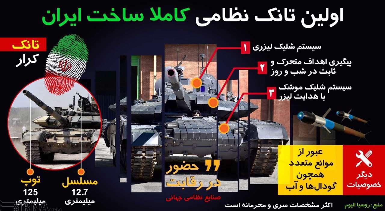 تانک کرار اولین تانک پیشرفته تمام ایرانی