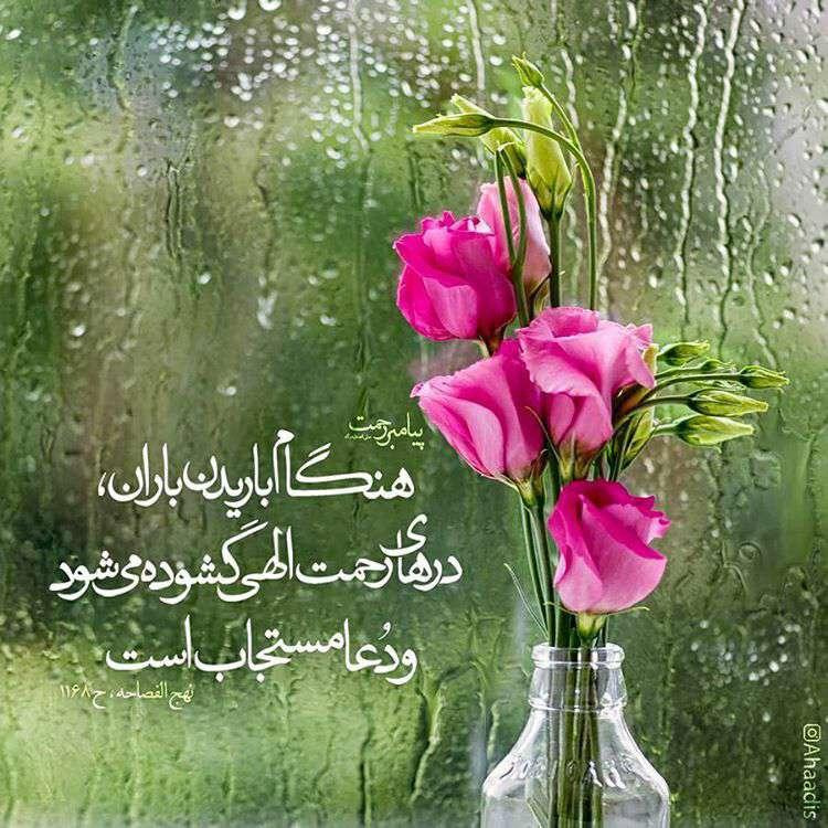 حدیثی از پیامبر اکرم در مورد باریدن باران