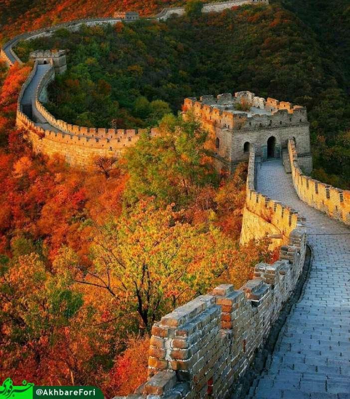 نمای حیرت انگیز پاییزی از دیوار بزرگ چین