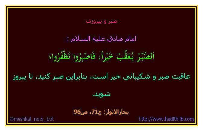 حدیثی از امام صادق در مورد صبر رو پیروی