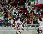 شادی بازیکنان ایران پس از گل تساوی