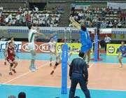 صحنه از دیدار والیبال ایران - ایتالیا