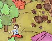 ریزش سنگ از کوه
