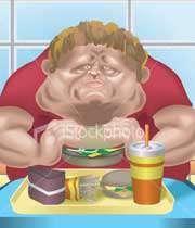 مردی چاق در حال خوردن فست فود