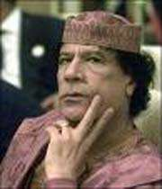 le président lybien mu'ammar khadafi lors d'une rencontre internationale