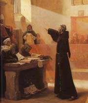 scène de procès inquisitorial du franciscain spirituel bernard délicieux (occitanie)