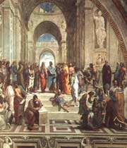 raphaël, « ecole d'athènes », 1509 (chapelle sixtine) : représentation des grands philosophes grecs