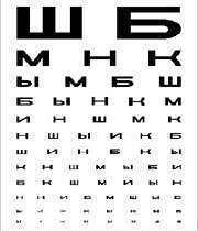 таблица для определения зрения
