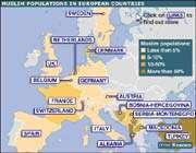 carte de la présence musulmane dans les pays européens