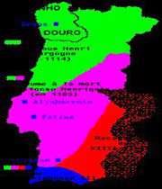 carte montrant les étapes de la conquête progressive des territoires musulmans du portugal actuel par l'armée catholique