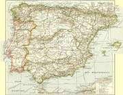 carte de la péninsule ibérique au début du siècle dernier
