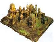 scène rituelle. maquette en bronze, suse, ~xiie s.