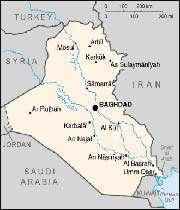 carte de l'irak contemporain avec karbal au centre, riverain de l'euphrate