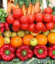 میوه و سبزی های سبز و نانجی