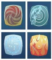 عناسر چهارگانه: زمین، آتش، <br /> آب و هوا