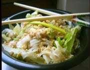 salade de poulet au sésame et thé caramel