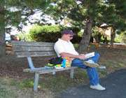 man sitting in the park