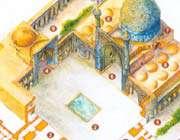 axonométrie de la mosquée de l'imam