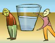 boys with a glass of water