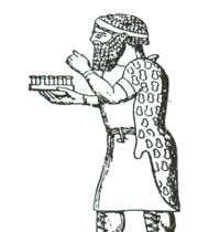 prince de mède tenant une citadelle miniature, symbole de son royaume et de son pouvoir, d'après un bas-relief assyrien du ~viiie s.