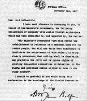 déclaration balfour à rothschild en 1917: acte de naissance de l'entité sioniste en palestine