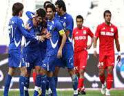 esteqlal celebrates scoring against steel azin