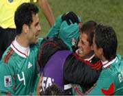 mexico celebrate after javier hernandez gives them the lead