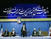 ayatollah seyed ali khamenei in a meeting with top iranian officials and foreign ambassadors.