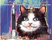 postage stamp issued in 1992 by the comoro islands, from a set depicting space animals, including felicette (probably) shown here