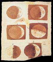 galileos sketches and observations of the moon revealed that the surface was mountainous