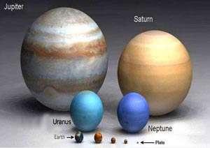 مقایسه ابعاد سیارات منظومه شمسی با اندازه زمین