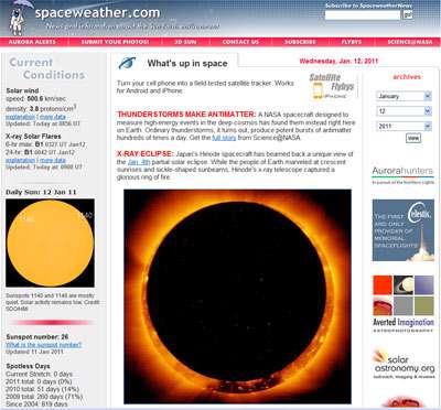 نمایی از سایت space wheather