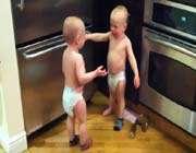 twin babies having a conversation