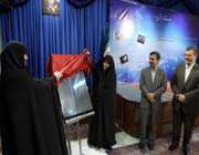 iranian president mahmoud ahmadinejad unveils the plaque of processing embryonic stem cells technology.
