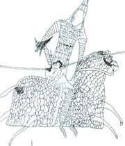 cavalier parthe, cuirassé et armé d'une lance. d'après un graffito de dura europos (syrie),iie-iiies.