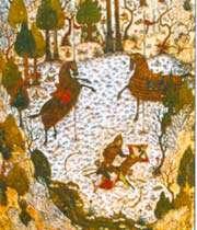 combat entre homay et homayun. divan de khaju kermani, bagdad, 1396.
