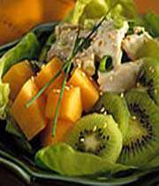 salade de poulet aux kiwis et au melon