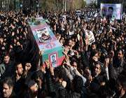 people carry the body of iranian nuclear scientist mostafa ahmadi roshan during his funeral procession