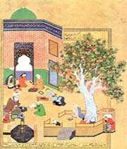leili et madjnûn à l'école, khamseh de nezamî, behzad, herat, xve siècle
