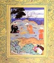 le conseil du maître, attribué à kamal-e-din behzad, moraqq'-e golshan, xvie siècle