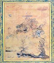 une page du moraqqa'-e golshan, behzad, xviie siècle