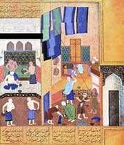 ma'moun dans le hammam, khamseh de nezami, behzad, herat, xve siècle