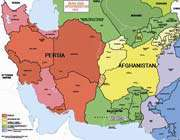 carte de l'iran et de l'afghanistan en 1849