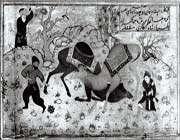 combat de deux chameaux, œuvre de nanhã, copiée en inde moghole, 1608, bibliothèque du palais du golestân à téhéran, moragha-e golshan