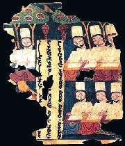 prêtres manichéens en train d'écrire à leur bureau, manuscrit de khocho, tarim basin, extrait d'un ouvrage manichéen, viiie-ixe siècle, asie centrale