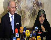 head of irans department of environment masoumeh ebtekar ,french foreign minister laurent fabius in tehran