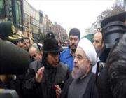 الرئيس روحاني يحضر محل حادث انهيار المبنى التجاري بوسط طهران